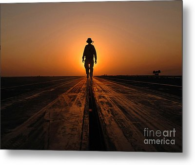A Sailor Walks The Catapults Metal Print by Stocktrek Images