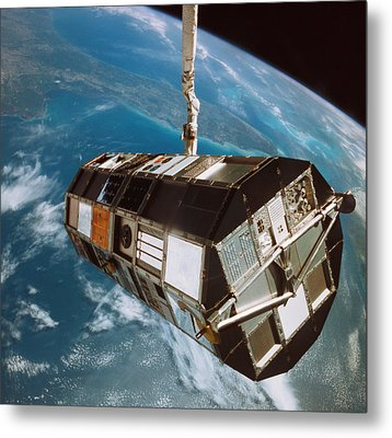 A Satellite Above The Earth Metal Print by Stockbyte