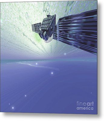 A Satellite Out In The Vast Beautiful Metal Print by Corey Ford