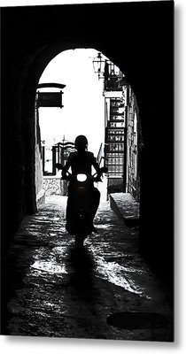 a scooter rider in the back light in a narrow street in Italy Metal Print by Joana Kruse