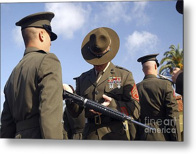 A Senior Drill Instructor Inspects Metal Print by Stocktrek Images