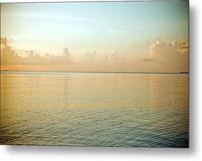 A Serene Landscape Of The Ocean And Sky At Sunrise Metal Print by Adam Hester