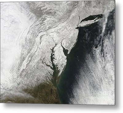 A Severe Winter Storm Along The United Metal Print by Stocktrek Images