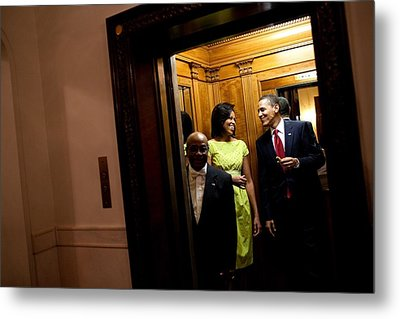 A Smiling President Obama Holds Metal Print by Everett