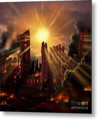 A Solar Flare, An Enormous Eruption Metal Print by Ron Miller