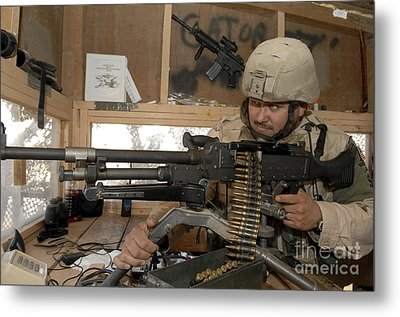 A Soldier Conducts An Observation Metal Print by Stocktrek Images