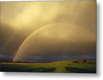 A Spectacular Double Rainbow And Storm Metal Print by Jason Edwards