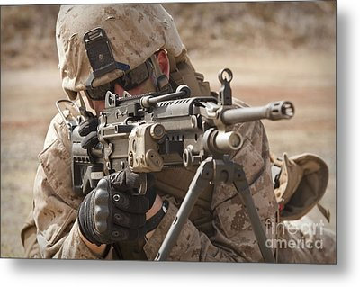 A Squad Automatic Weapon Gunner Metal Print by Stocktrek Images