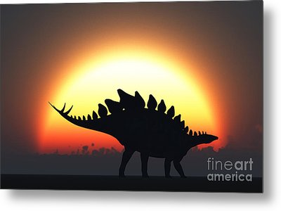 A Stegosaurus Silhouetted Metal Print by Mark Stevenson