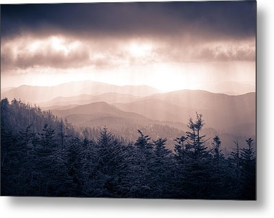 a Storm Over the Smokys Monotone Metal Print by Pixel Perfect by Michael Moore