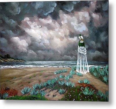 A Stroll Upon The Dunes Metal Print by Laura Iverson