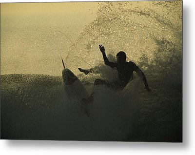 A Surfer Wipes Out On A Breaking Wave Metal Print by Tim Laman