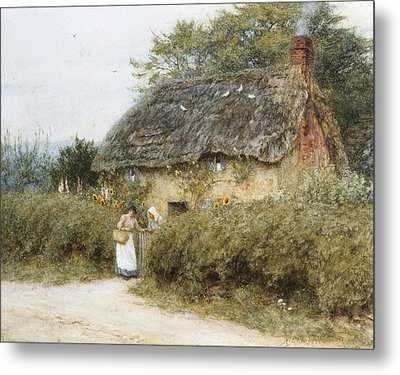 A Thatched Cottage Near Peaslake Surrey Metal Print by Helen Allingham