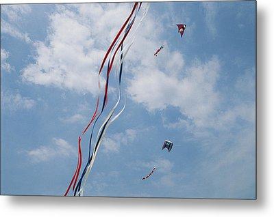 A Train Of Kites Flies At The Jockeys Metal Print by Stephen Alvarez