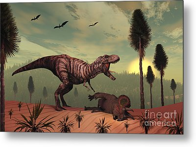 A Triceratops Falls Victim Metal Print by Mark Stevenson