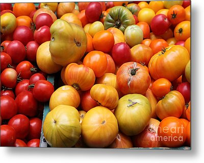 A Variety Of Fresh Tomatoes - 5d17811 Metal Print by Wingsdomain Art and Photography