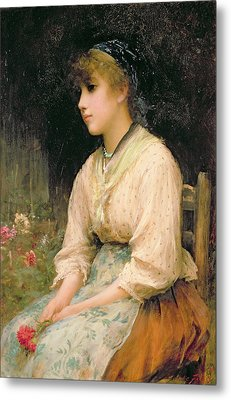 A Venetian Flower Girl Metal Print by Sir Samuel Luke Fildes