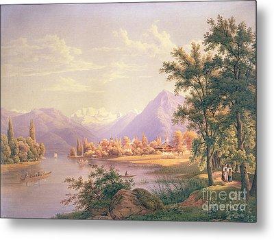 A View Of Scherzingen On The Lake Of Thun Metal Print by Jakob Suter