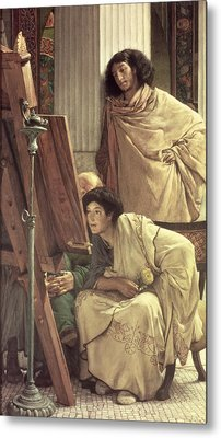 A Visit To The Studio Metal Print by Sir Lawrence Alma-Tadema