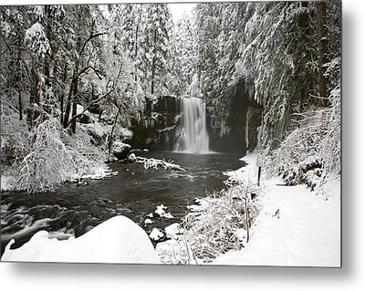 A Waterfall In To A River In Winter Metal Print by Craig Tuttle
