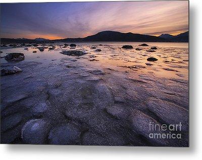 A Winter Sunset At Evenskjer In Troms Metal Print by Arild Heitmann