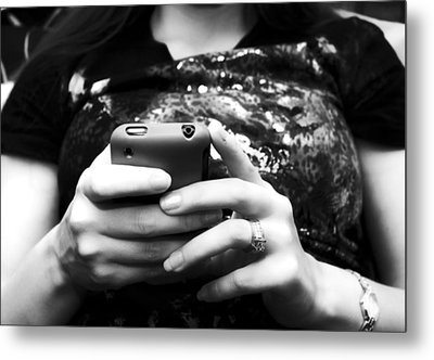 A Woman And Her Phone Metal Print by Ricky Barnard