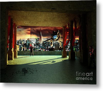 A Woman Spys From The Shadows Metal Print by Brian Christensen