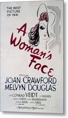 A Womans Face, Joan Crawford, 1941 Metal Print by Everett