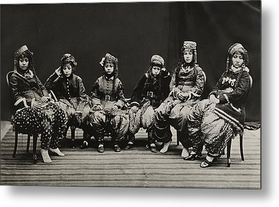 A Young Group Of Well Dressed Nepali Metal Print by John-Claude White
