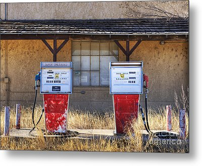 Abandoned Gas Pumps And Station Metal Print by Dave & Les Jacobs
