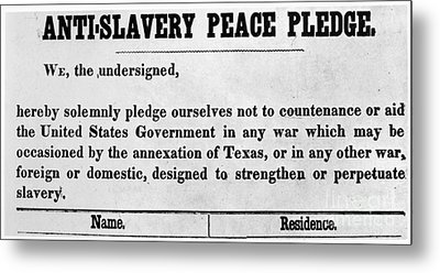 Abolitionist Peace Pledge Metal Print by Granger