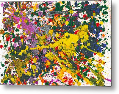 Abstract - Crayon - One Evening At The Diner Metal Print by Mike Savad