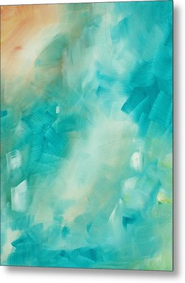 Abstract Art Colorful Bright Pastels Original Painting Spring Is Here II By Madart Metal Print by Megan Duncanson