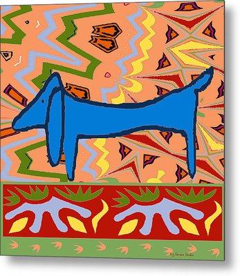 Abstract Blue Dachshund Metal Print by Jerry Schwehm