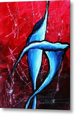 Abstract Calla Lilly Textured Painting Greeting Lillies By Madart Metal Print by Megan Duncanson