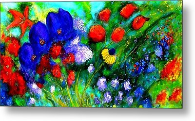 Abstract Flowers Metal Print by Marie-Line Vasseur