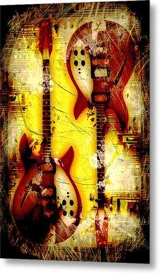 Abstract Grunge Guitars Metal Print by David G Paul
