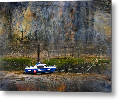 Abstract Harbour And Boat Metal Print by Svetlana Sewell