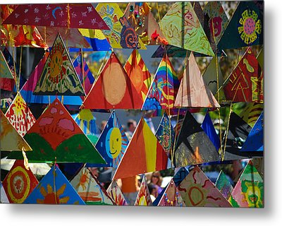 Abstract In Triangles Metal Print by Peggy Zachariou