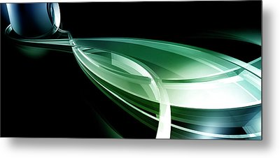 Abstract Lines, Leaf Shape Metal Print by Ralf Hiemisch