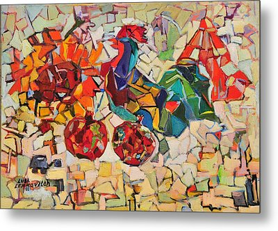 Abstract With Rooster Metal Print by Liubov Meshulam Lemkovitch