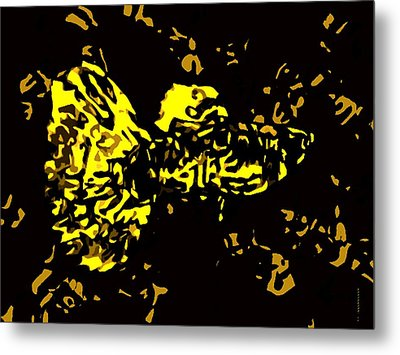 Abstract Yellow Fish  Metal Print by Mario Perez