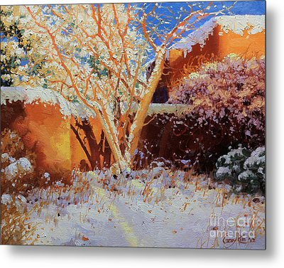 Adobe Wall With Tree In Snow Metal Print by Gary Kim