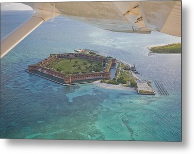 Aerial Of Fort Jeffereson, At Dry Metal Print by Mike Theiss