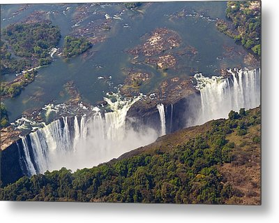 Aerial Of Victoria Falls, Zambia, Africa Metal Print by Yvette Cardozo