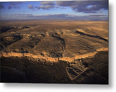 Aerial View Of Chaco Canyon And Ruins Metal Print by Ira Block
