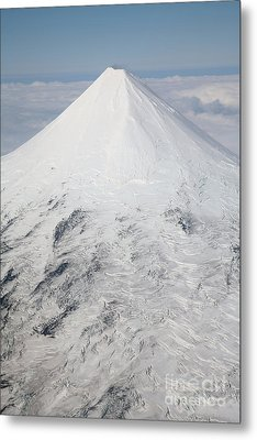 Aerial View Of Glaciated Shishaldin Metal Print by Richard Roscoe