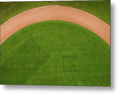 Aerial View Of Running Track Metal Print by Ivo Noppen