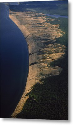 Aerial View Of The Grand Sable Dunes Metal Print by Phil Schermeister