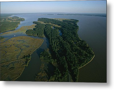 Aerial View Of The James River Metal Print by Ira Block